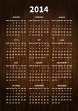 calendrier 2014 sur la texture en bois Photo stock