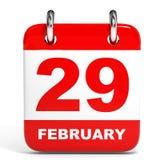 Calendrier sur le fond blanc 29 février Photographie stock libre de droits