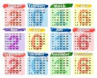Calendrier 2016 sur un fond coloré Images stock