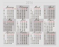 Calendrier 2016 sur un fond gris Photographie stock