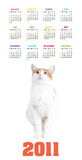 Calendrier vertical de couleur pendant 2011 années Photographie stock