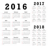 Calendriers pour 2016-2018 Photographie stock