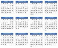 Calendário 2014 Imagens de Stock