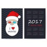 Calendário com Santa In 3D-glasses Fotografia de Stock