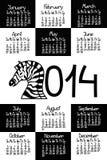 Calendário 2014 com zebra Imagens de Stock