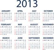 calendário de 2013 vetores Fotos de Stock