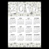 calendário de parede simples do negócio 2017 com teste padrão floral eps10 do esboço Fotos de Stock