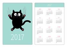 Calendário do bolso 2017 anos A semana começa domingo Molde vertical da orientação do projeto liso Vidro do risco da garra do gat Imagens de Stock