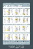 Calendário 2014 do bolso com fases do GMT da lua, Fotografia de Stock