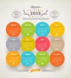 Calendário 2015 do moderno Foto de Stock Royalty Free