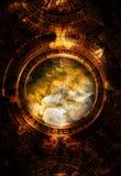 Calendário maia antigo, espaço cósmico e estrelas Fotos de Stock