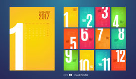 Calendário mensal 2017 da parede Molde do vetor Fotografia de Stock
