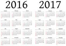 Calendário para 2016 e 2017 Foto de Stock Royalty Free