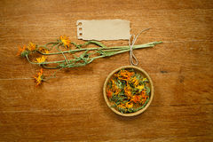 Calendula. Dried. Herbal medicine, phytotherapy medicinal herbs. Stock Photo