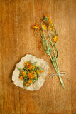 Calendula.Dried herbs. Herbal medicine, phytotherapy medicinal h Royalty Free Stock Image