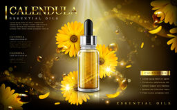Calendula essential oil ad Royalty Free Stock Image