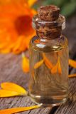 Calendula extract in a glass bottle and flowers vertical Stock Photography