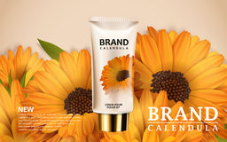 Calendula hand cream ads Stock Image