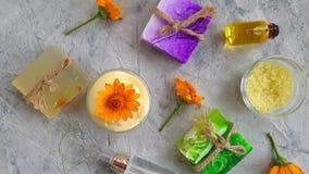 calendula hecho a mano del producto de la flor cosmética poner crema, relajación de la cámara lenta almacen de video