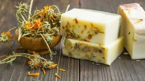 Calendula natural soaps Stock Photo