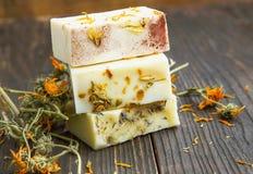 Calendula natural soaps Royalty Free Stock Images