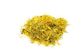 Calendula (pot marigold) tea. Dry calendula (pot marigold) tea on white background Stock Photography