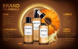Calendula skin toner ads Royalty Free Stock Photo