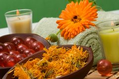 Calendula spa set Royalty Free Stock Photos