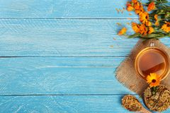 Calendula tea with fresh and dried flowers on blue wooden background with copy space for your text. Top view.  Stock Image
