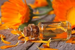 Calendula tincture and flowers on an old table horizontal Royalty Free Stock Images