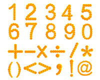 Calendulablume lokalisiert auf Weiß, Satz der Zahl, Zeichen Addiertes c Lizenzfreies Stockbild