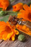 Calendulaolie in een de close-upverticaal van de glasfles Stock Afbeeldingen