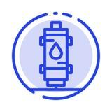 Calentador, agua, calor, caliente, gas, línea de puntos azul línea icono del géiser stock de ilustración