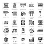 Calentador de aceite, chimenea, estufa de convección, radiador de la columna del panel y otros iconos del glyph de los aparatos d stock de ilustración