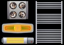 Calentador para el negro del cuarto de baño Fotografía de archivo