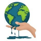 Calentamiento del planeta, tierra del planeta que derrite en una mano del ` s de la persona ilustración del vector