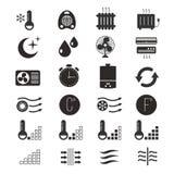 Calentando y refrescándose, iconos del vector del sistema de aire acondicionado libre illustration