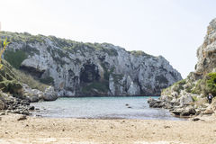 Cales Coves, a coastal corner with 90 excavated coves Stock Image