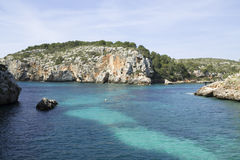 Cales Coves, a coastal corner with 90 excavated coves Royalty Free Stock Image