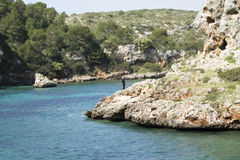 Cales Coves, a coastal corner with 90 excavated coves Royalty Free Stock Photos