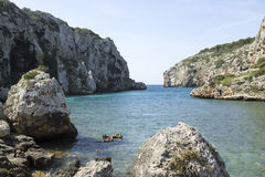 Cales Coves, a coastal corner with 90 excavated coves Stock Photos