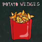 Cales de pomme de terre dans la boîte de papier Fried Potato Fast Food dans un paquet rouge Croquis tiré par la main réaliste de  Image stock