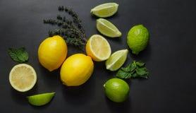 Cales, limones y menta Fotografía de archivo