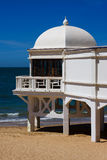 Caleta Beach in Cadiz, South of Spain. Photo of white observation structure on the Caleta Beach in Cadiz, Spain Royalty Free Stock Photography