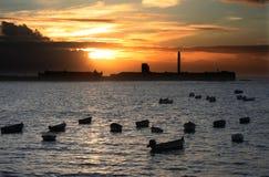 Caleta beach at dusk, Cadiz, Spain Royalty Free Stock Image