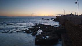 Caleta Beach Walkway Cadiz Spain Time Lapse stock footage