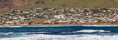 Caleta de Famara, в Лансароте, Канарские острова Стоковая Фотография