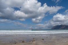 Caleta de Famara beach in Lanzarote, Canary Islands, Spain stock photos