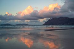 Caleta de Famara beach at sunset, Lanzarote, Canary, Spain royalty free stock images