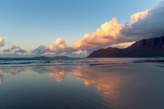 Caleta de Famara beach at sunset, Lanzarote, Canary, Spain stock image